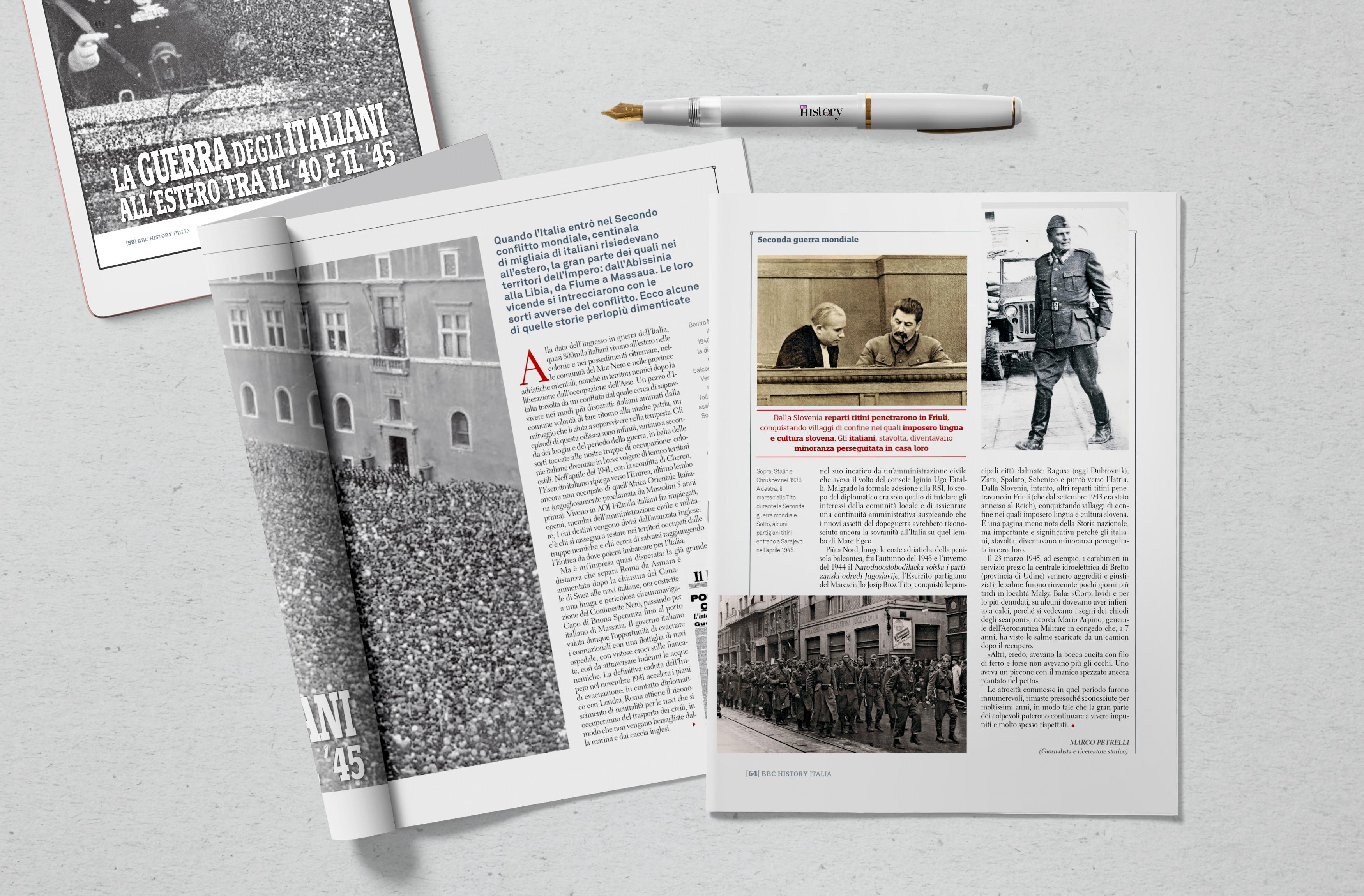 La guerra degli italiani all'estero fra il 1940 e il 1945, reportage per BBC History Italia