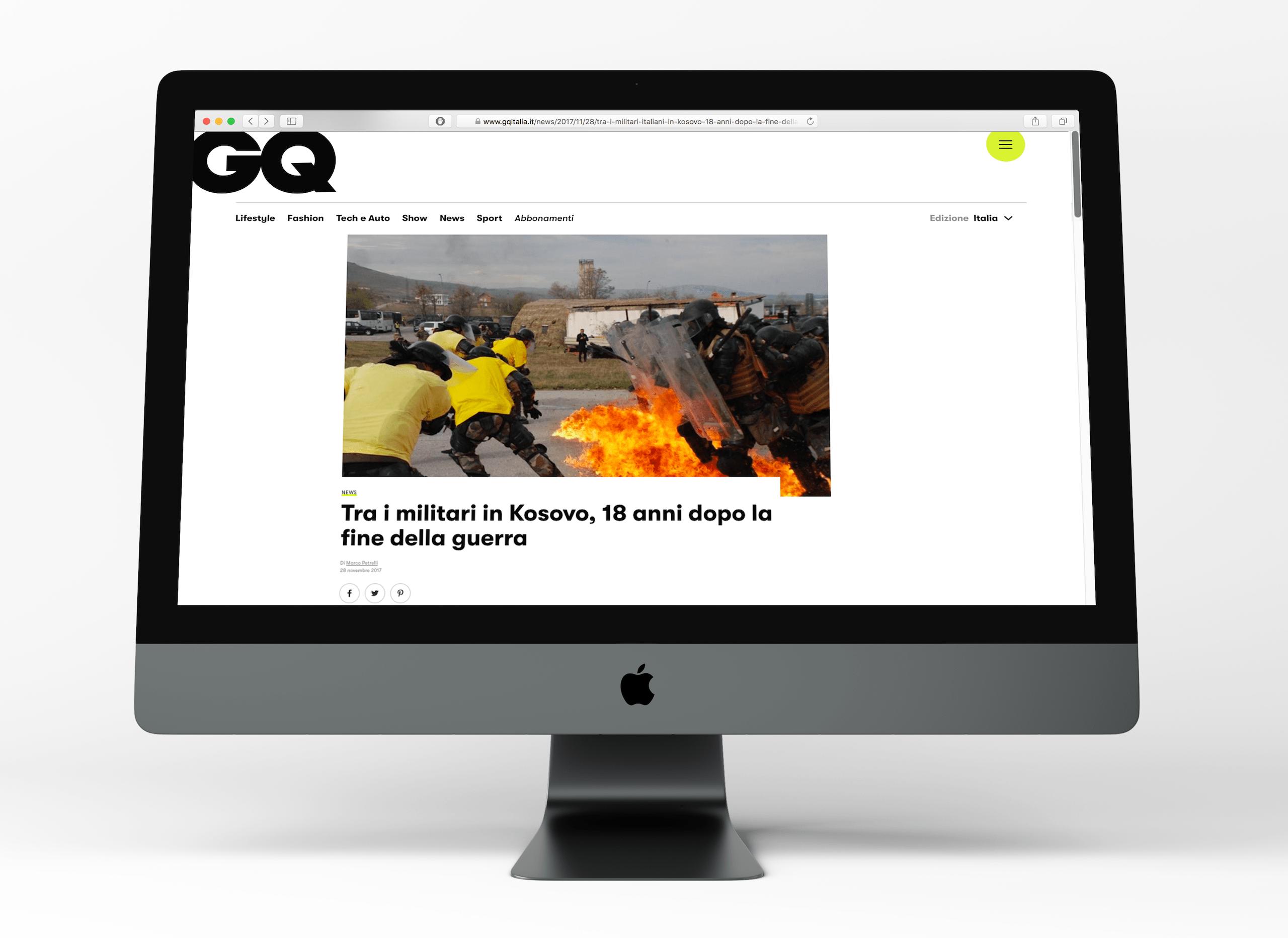"""""""Tra i militari in Kosovo, 18 anni dopo la fine della guerra"""", GQ Italia"""